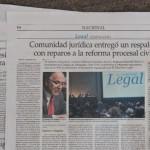Comunidad juridica entregó un respaldo con reparos a la reforma procesal civil
