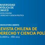 UC de Temuco invita a participar en Revista Chilena de Derecho y Ciencia Política