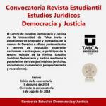 Llaman a participar con artículos en revista de Estudios Jurídicos Democracia y Justicia de la U. de Talca