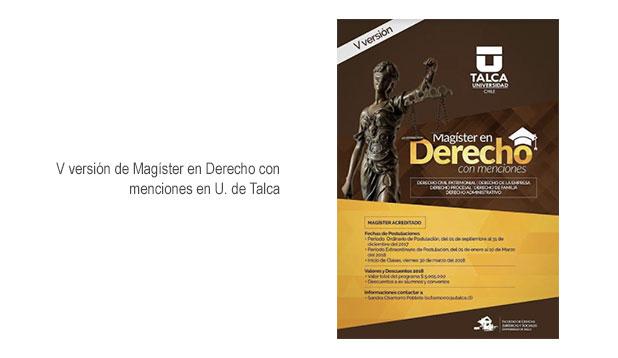 V Versión Magister de Derecho en U. de Talca